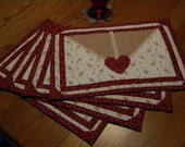 Hand Quilted Victorian-Styled Red and White Floral Placemats with Heart Motif - Set of Four