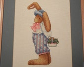 Sweet Bunny with a Basket of Flowers   Done in  Needlepoint