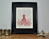 FRAMED 11x14 - Vintage Book Page Dictionary Print - Brilliant Red Octopus