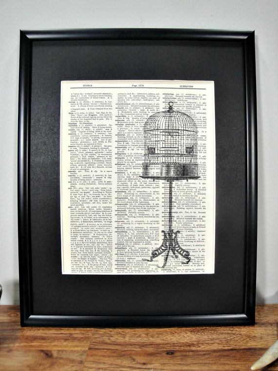 FRAMED 11x14 - Vintage Tall Birdcage Page Dictionary Print