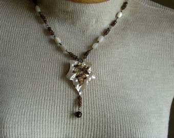 Antique Mother of Pearl Necklace Assemblage with Andulasite