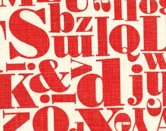 Letterpress Red Michael Miller Fabric Just My Type 1 yard