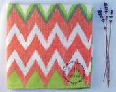 Hello Friend on Green/Yellow/Coral Ikat Pocket Square