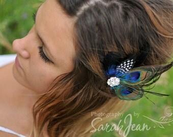 Peacock Wedding Hair Clip Feather Hair Piece Bridal Accessories Fascinator bridesmaid gift Bridal Shower