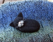 "Black Cat Brooch 2,7"" , cat pin, needle felted miniature, black, handmade"
