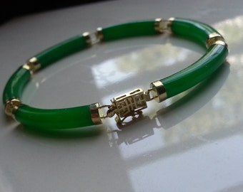 14K Solid Gold Fine Jewelry, Gemstones Jewelry Bangle Bracelet Natural Tubular Green Jade Fine Gemstones Jewelry Bracelet YJ3183