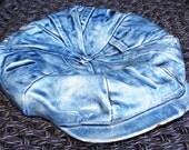 Vintage Blue Denim Cap Pottery by S Barton 1980 - Wall Table Art Key Holder Utensil Rest Soap Holder