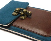 iPhone 6 / 7 / 7 Plus wallet - blue vintage wool