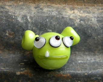 SALE 3 Eyed Space Alien Lampwork Bead, Beads of Courage, Beads in Space NASA Shuttle Mission COA Limited Edition, Replica Bead, Diana Rast