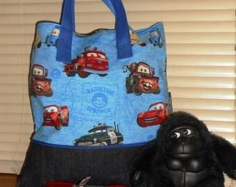 Cars Child Book bag / Tote Bag / Travel bag / Organizer / Party gift bag / Overnight bag / Embroidered