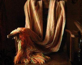 Sunshine orange handwoven shawl all seasons wrap summer luxury