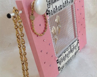 Jewelry Screen Frame, Standing, Hand Painted in Pink