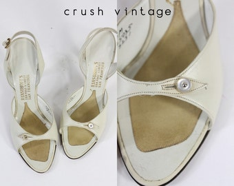 40s Shoes Ransohoffs Size 5 / 1940s Button Slingback Sandals / The Bette Heels
