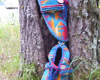 More Turquoise in My Pocket - Felted Blanket Wool/ Wool Lined / Sheepskin & Leather Soles Moccasins / Slippers - Women's or Men's