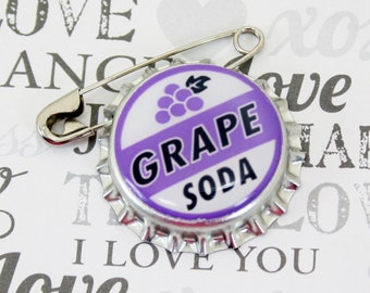 Ellie Badge Grape Soda Pin - LP - Personalized  - Bottle Cap - Wedding Groom Gift - Boy Girl Scouts