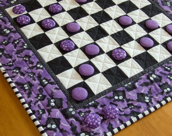 Checkers Game Board / Quilted Table Runner - Halloween Bats in Purple, Black and White