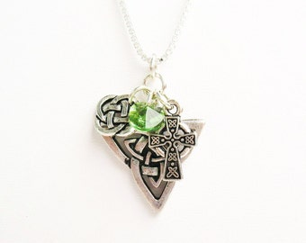 Celtic Knot Necklace, Irish Necklace, Celtic Necklace  - Triquetra Knot, Round Knot, Celtic Cross, Green Crystal - on Sterling Silver Chain