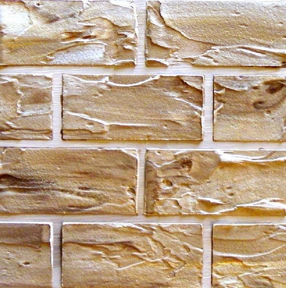 Real Plaster Walls : Raised plaster standard brick stencil wall paint