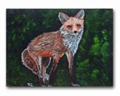 Red Fox painting in frame 5x7 fine art acrylic on panel autumn wildlife portrait woodland dark forest modern rustic small format art