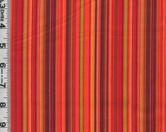 Fabric Clothworks Autumn Splendor Vertical Stripe COORDINATE RED/green/brown/orange Fall colors