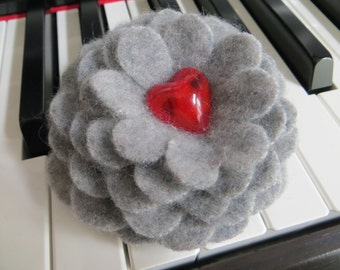 Gray Cashmere Flower Brooch Pin with Red Glass Heart Center