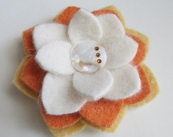 Candy Corn - Felted Wool Flower Brooch Pin - Yellow Orange White - Halloween Fall Fashion