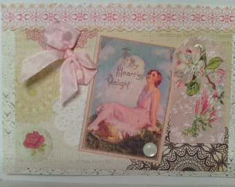 Antique Style Pink Blank Card