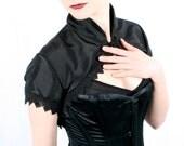 short sleeved black taffeta victorian shrug
