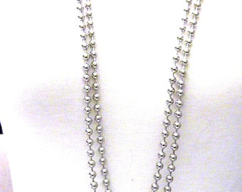 Two Silver tone Metal Bead Vintage Necklaces New Old