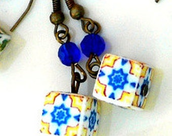 PORTUGAL Antique Azulejo Tile Replica Cube Earrings from OVAR - Yellow and Blue -waterproof and reversible 453