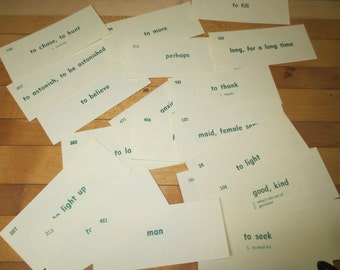 20 Sweet Romantic Vintage vocabulary flash cards English on one side and FRENCH on the other
