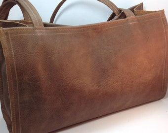 Distressed Brown Leather Shoulder Bag - Made to order