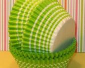 Lime Green Stripe Cupcake Liners   (45)