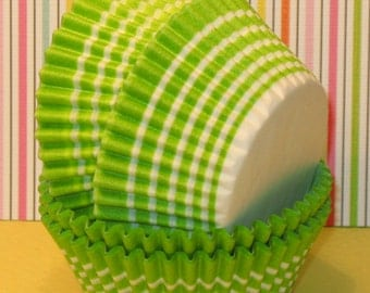 Lime Green Stripe Cupcake Liners   (45)