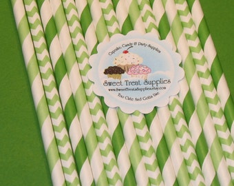 Apple Green Paper Straw Collection With DIY Flag Toppers   (30)