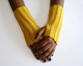 Crochet Fingerless Gloves, Yellow Driving Gloves, Mustard Womens Gloves, READY TO SHIP