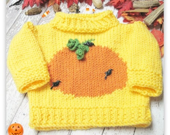 Pumpkin Patch Pullover Knitted  Pattern Child Sizes Ages 3-8