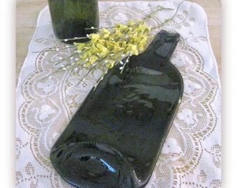 Green Slumped Bottle  for Crafts FREE SHIPPING