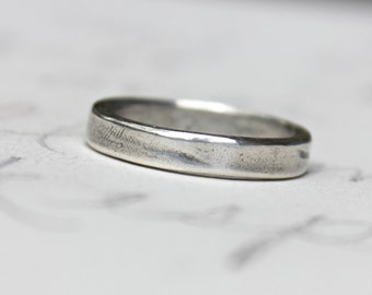 rustic wedding band ring . custom recycled silver wedding ring . simple smooth wedding ring . secret message inscription by peaces of indigo