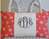 Monogrammed Pillow Cover 12x20 Lumbar Pillow Choose Your Fabric
