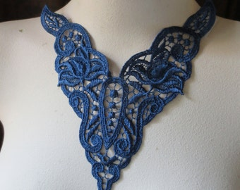 Lace Applique in Deep Blue for Jewelry Supply,  Costume Design CA 302