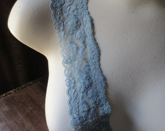Stretch lace in Grayed Blue for Headbands, Garters, Lingerie  STR 1104grbl