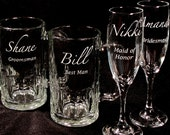 12 Wedding Party Gifts Personalized and Engraved Beer Mugs & Champagne Flutes