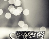 Bokeh Kitchen Photography, Blue Steamer in Black and White - tea cup decor still life cafe coffee cream grey silver