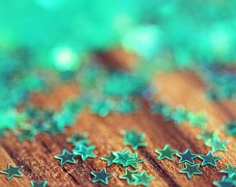 Abstract Photograph - Blue Falling Stars, turquoise teal blue geometric star aqua green light brown wood rustic glitter