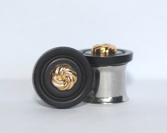"Simple Black And Gold Knot Formal Plugs 0G 00G 7/16"" 1/2""  8mm 10mm 11mm 12mm"