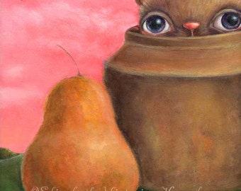 Surreal Still Life Painting, Hiding Monster Art, Landscape, Original Painting, Pop Surrealism, Lowbrow Art, EVK