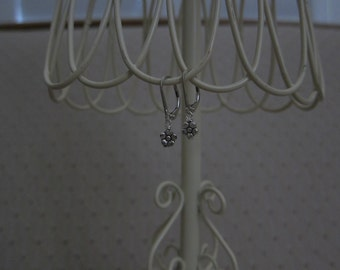 Tibetan Silver Tiny Flower Leverback Earrings