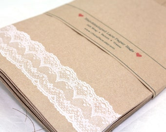 Set of 100 Handstamped Lace Kraft Paper Bags - Weddings, Showers, birthdays - LARGE