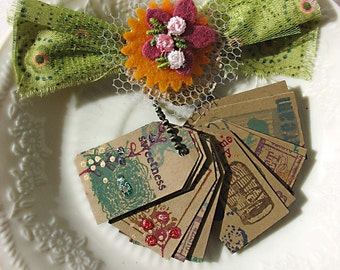 Bird Botanical and Postal Tiny Charm Gift Tags, Vintage Style, Paris Flea Market Chic, Set no 6, 20 tags